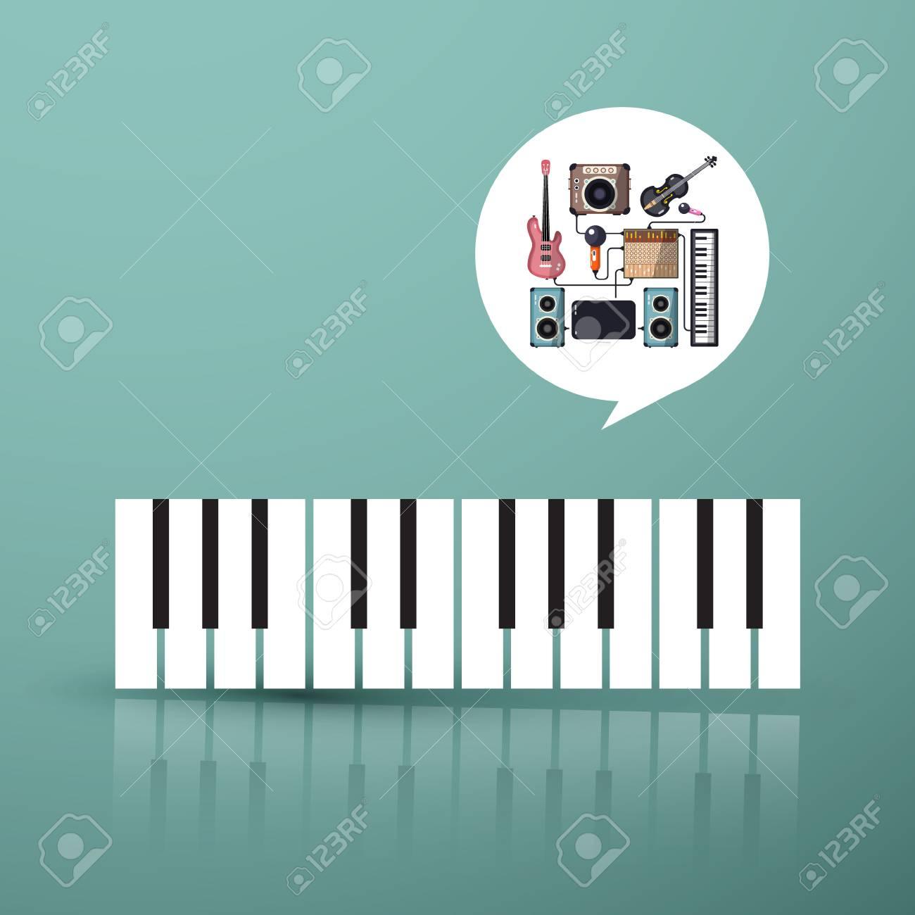 Símbolo De La Música Teclado De Piano Con Instrumentos En Burbuja