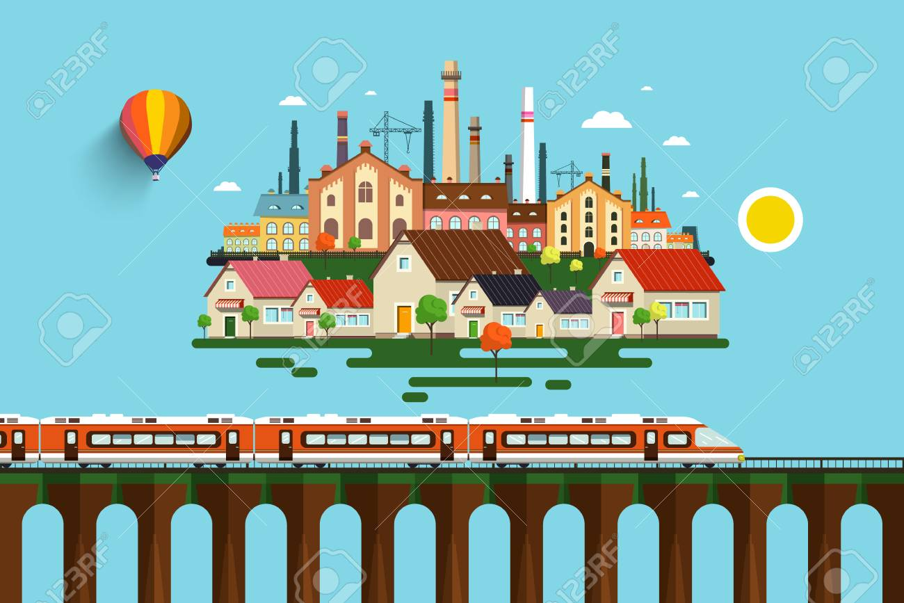 Modern Train on High Bridge and Abstract City vector Flat Design Illustration. Standard-Bild - 90524841