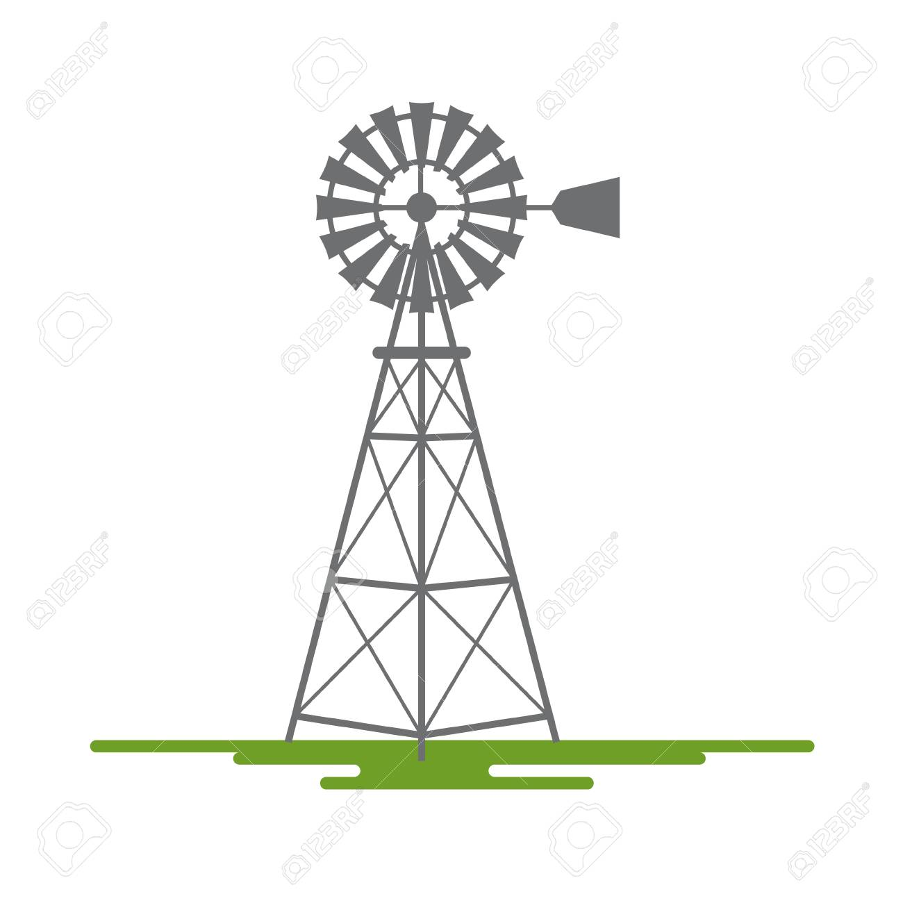 Windmill Flat Design Vector Symbol Isolated on White Background - 96083983