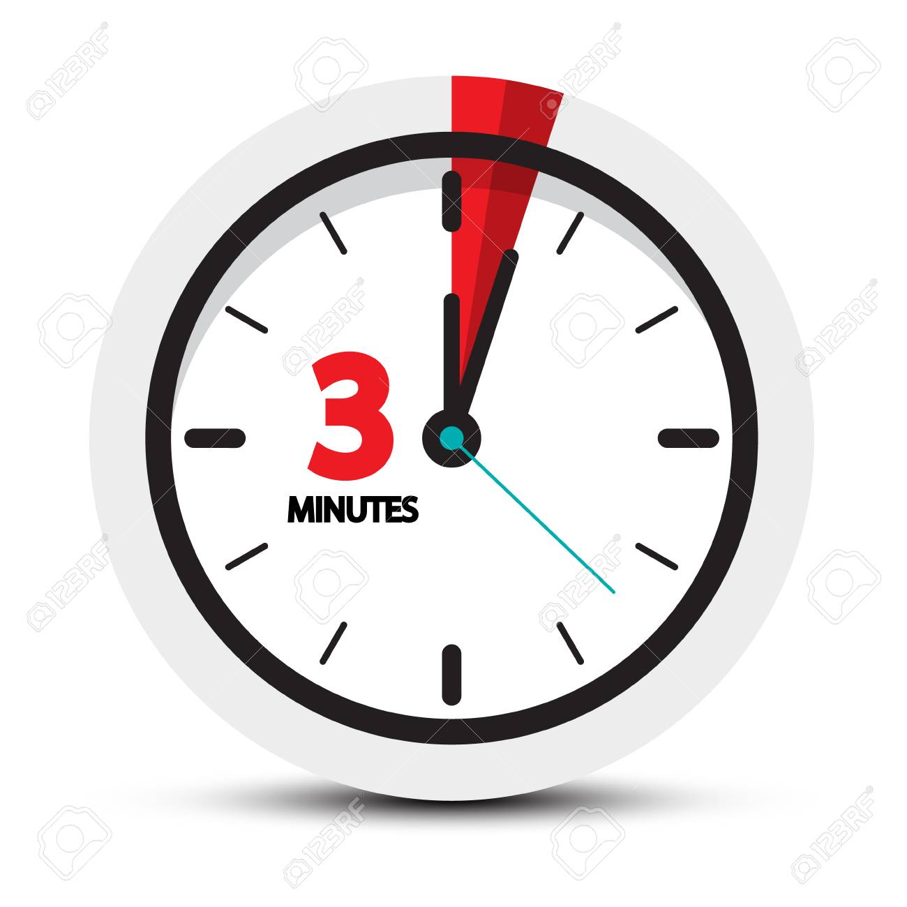 3 Minutes Icon. Clock Face with Three Minute Symbol. Vector illustration. - 96730620