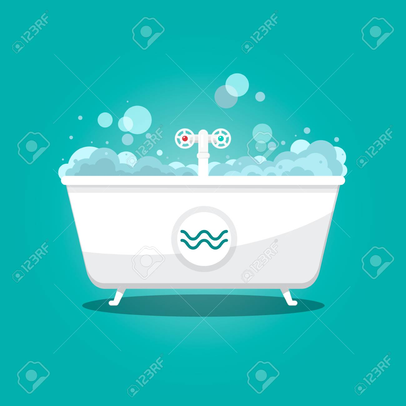 Bathtub With Bubbles On Teal Background. Royalty Free Cliparts ...