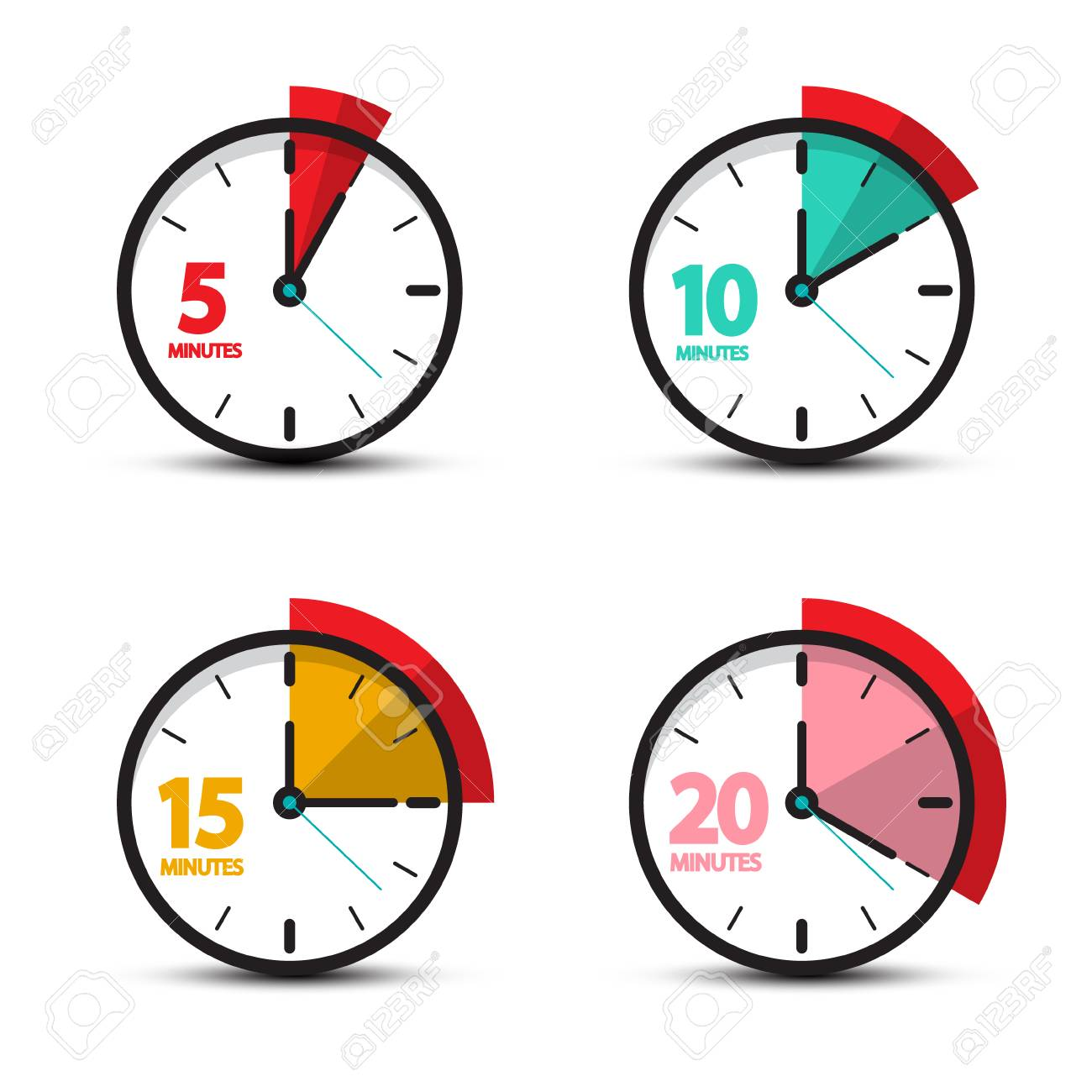 5, 10, 15, 20 Minutes Analog Clock Icons. Vector Time Symbol. - 103302433