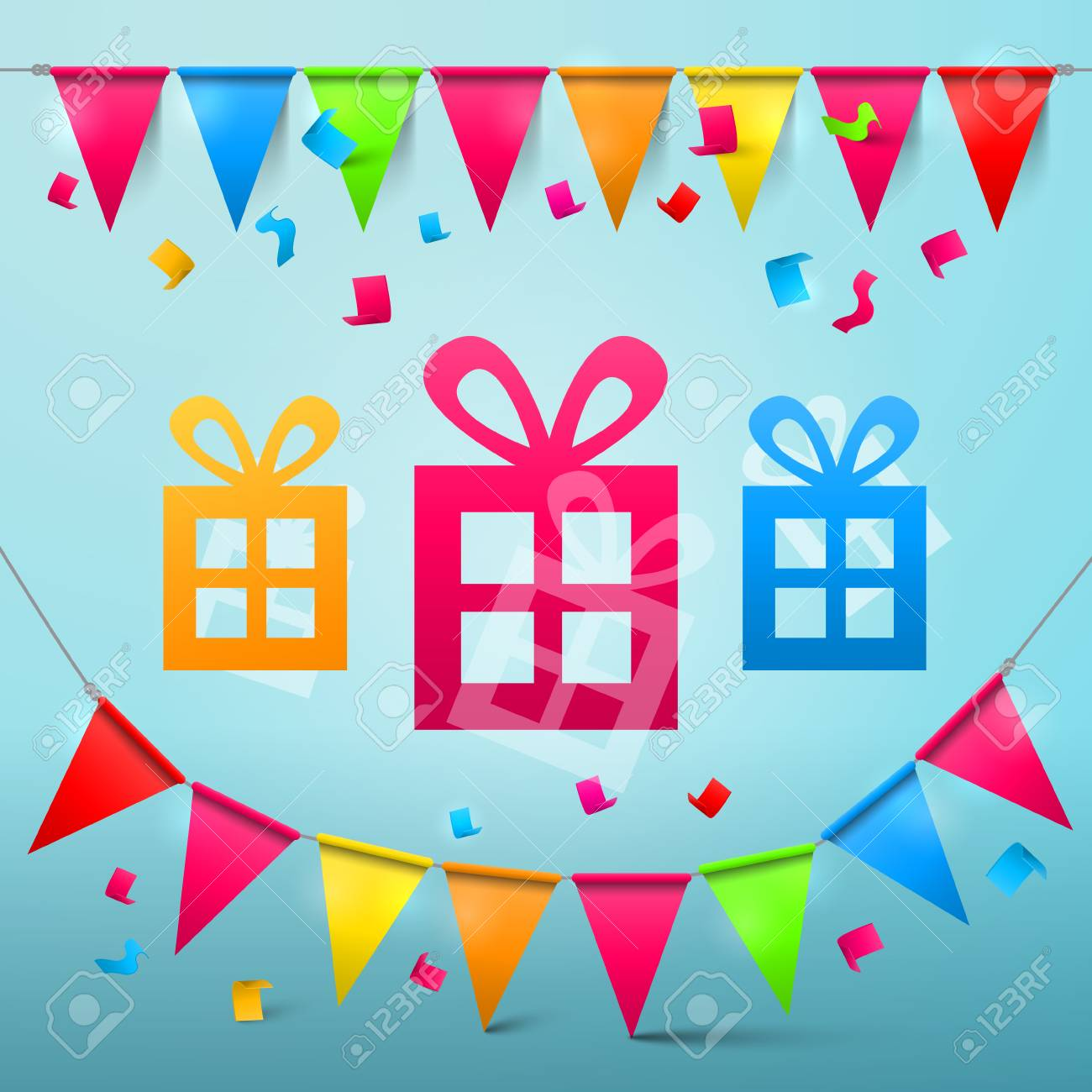 Party Design with Flags and Colorful Papr Cut Gift Boxes - 126610328
