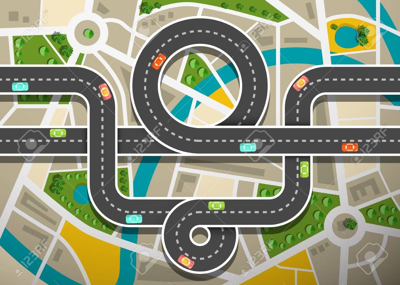 Road Map Aerial View with Cars on Highway and City Streets - 125536057