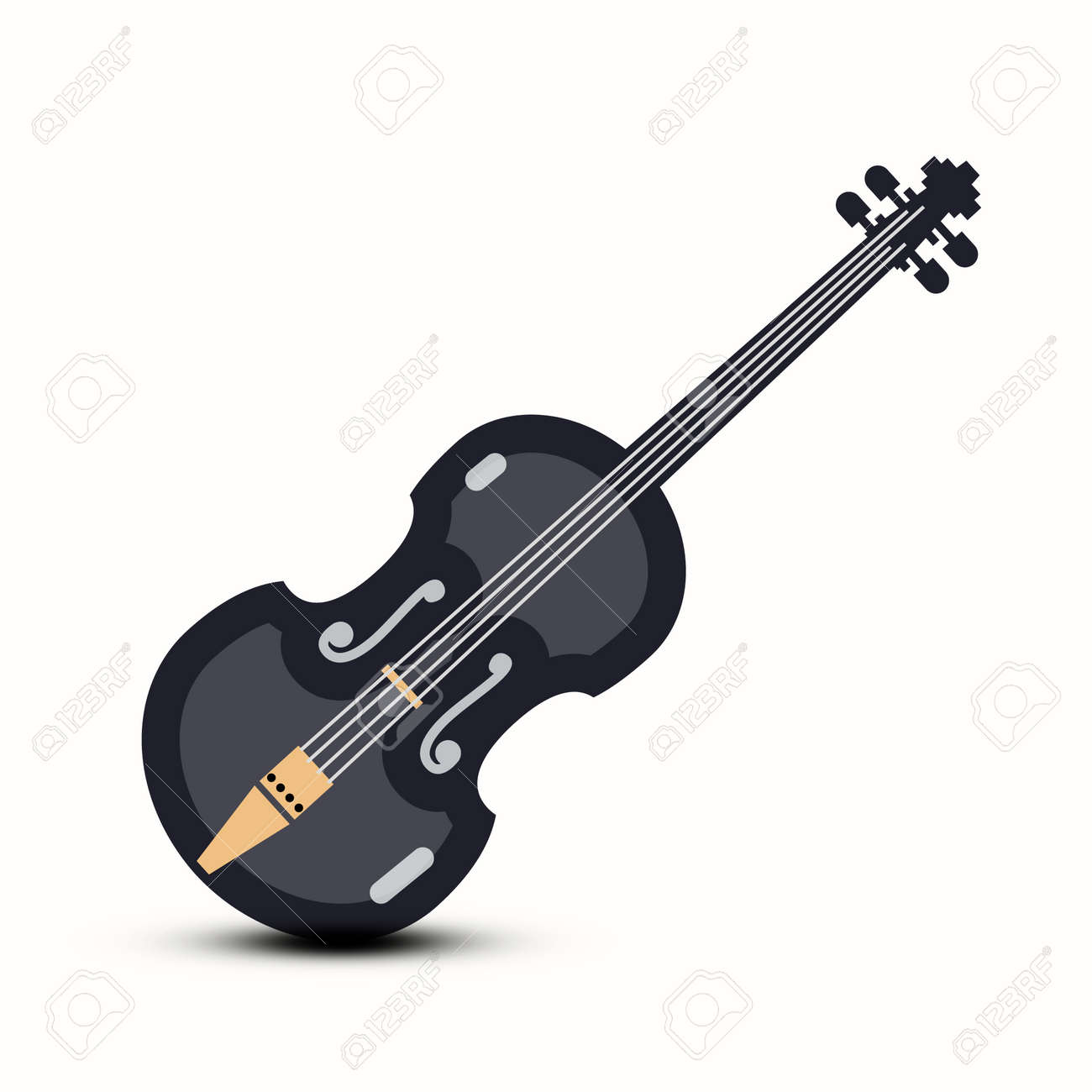 Violin Vector Musical Instrument Logo Design Isolated - 158044894