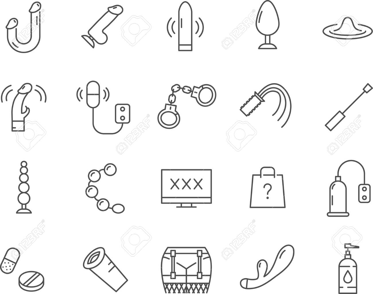 Set of Sex Toys icons. Line vector icons. - 138983215