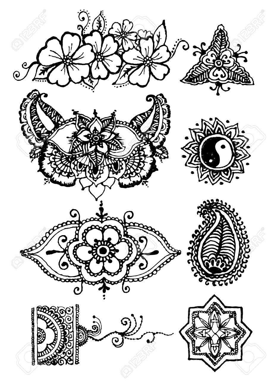Vector Illustration Mehendy Henna Tattoo Isolated In White