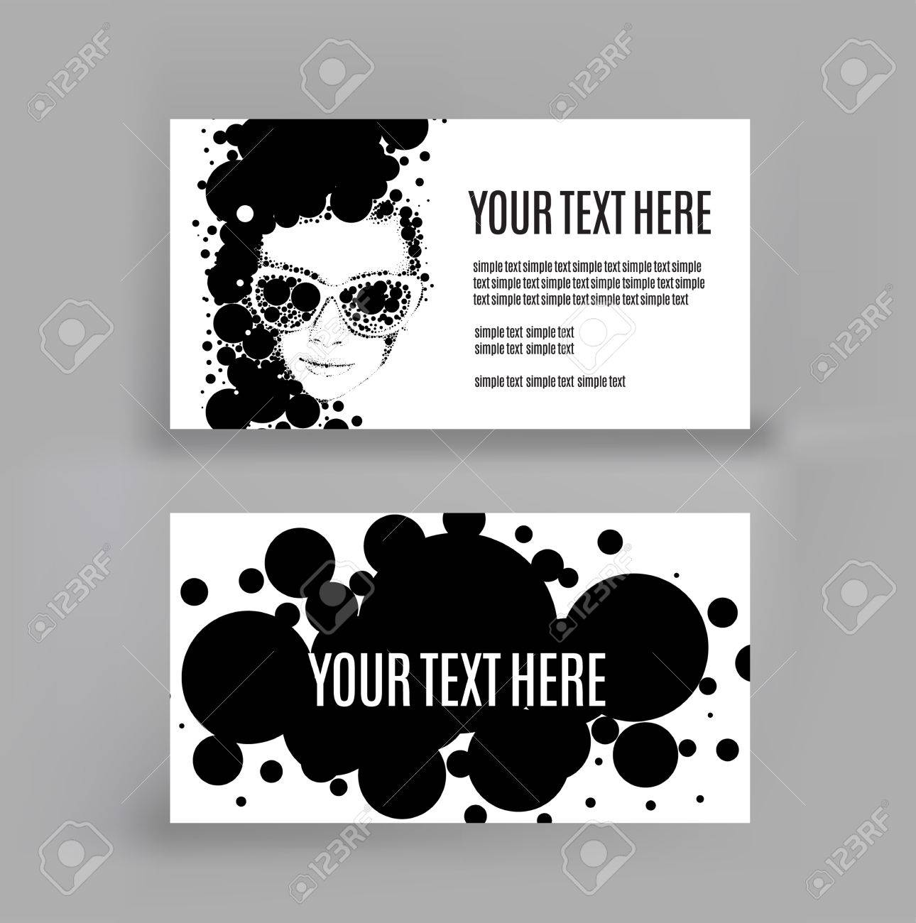 Business Card With An Illustration Of Vector Drawing Women. Copy ...