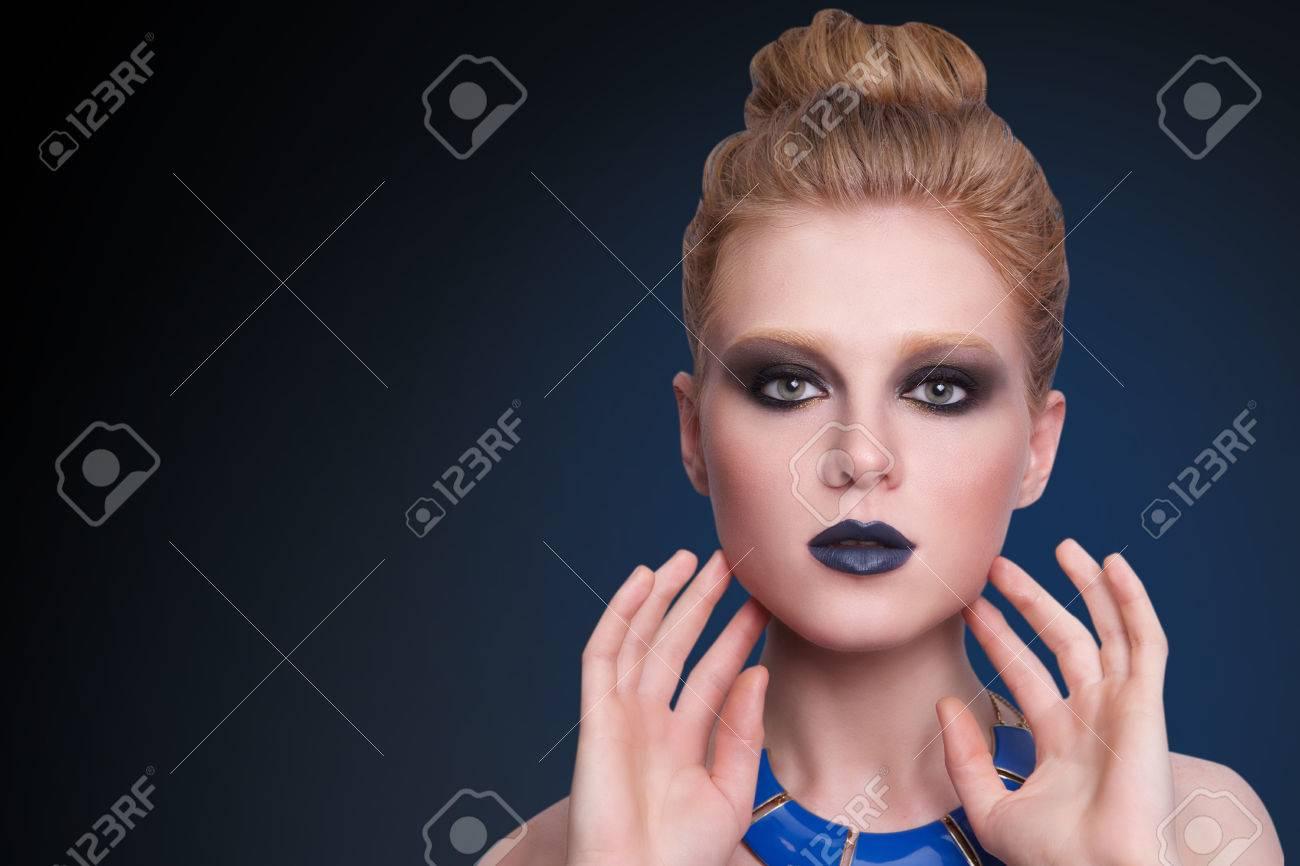 Schönheit Mode Modell Gesicht Der Frau Ein Perfektes Make Up Sexy