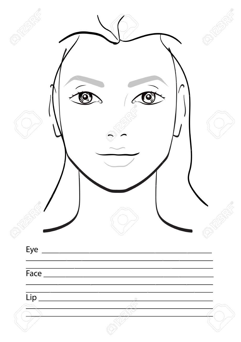 Face Chart Makeup Artist Blank. Template. Vector Illustration. Stock ...