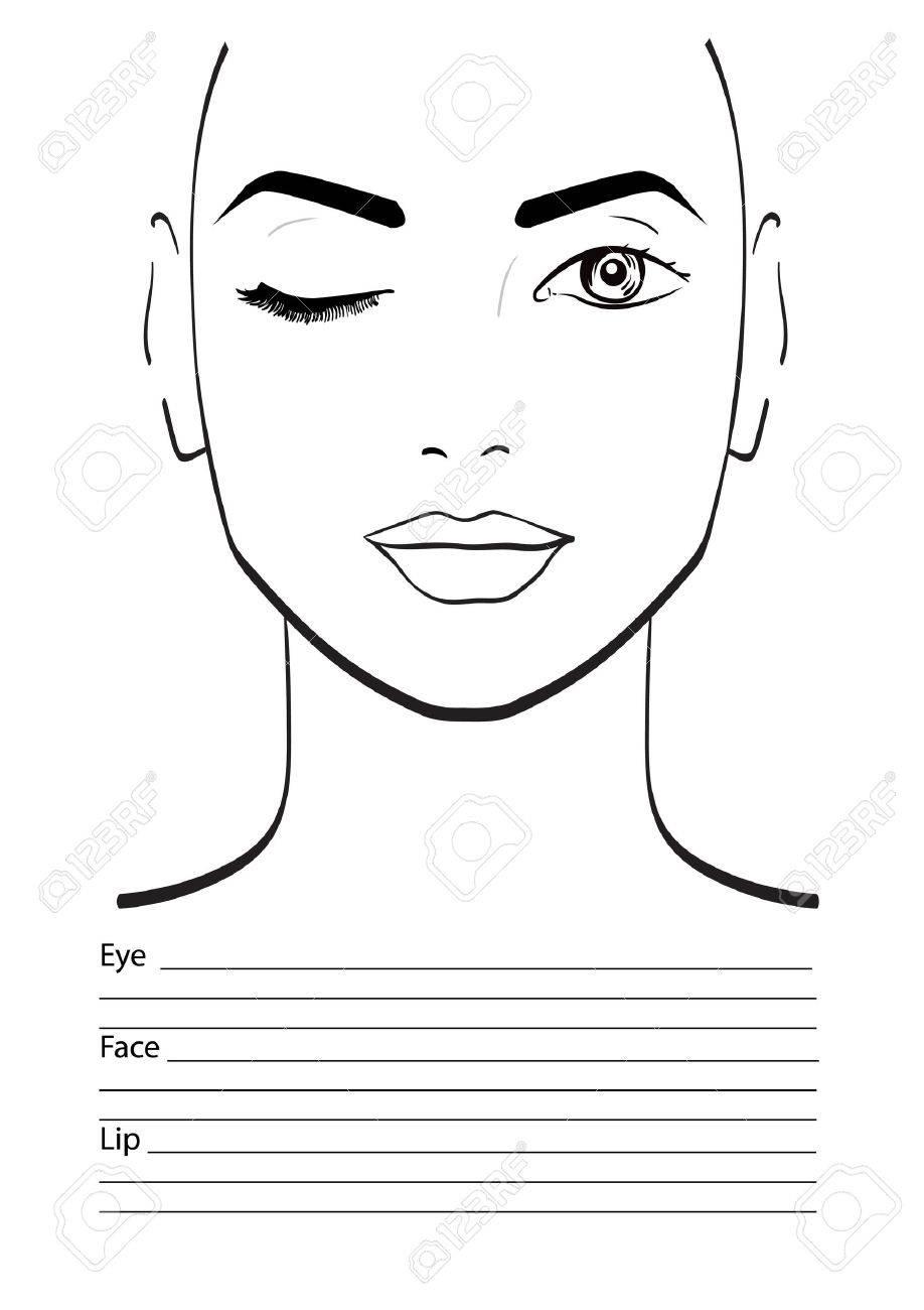 Face Chart Makeup Artist Blank Template Vector Illustration Stock