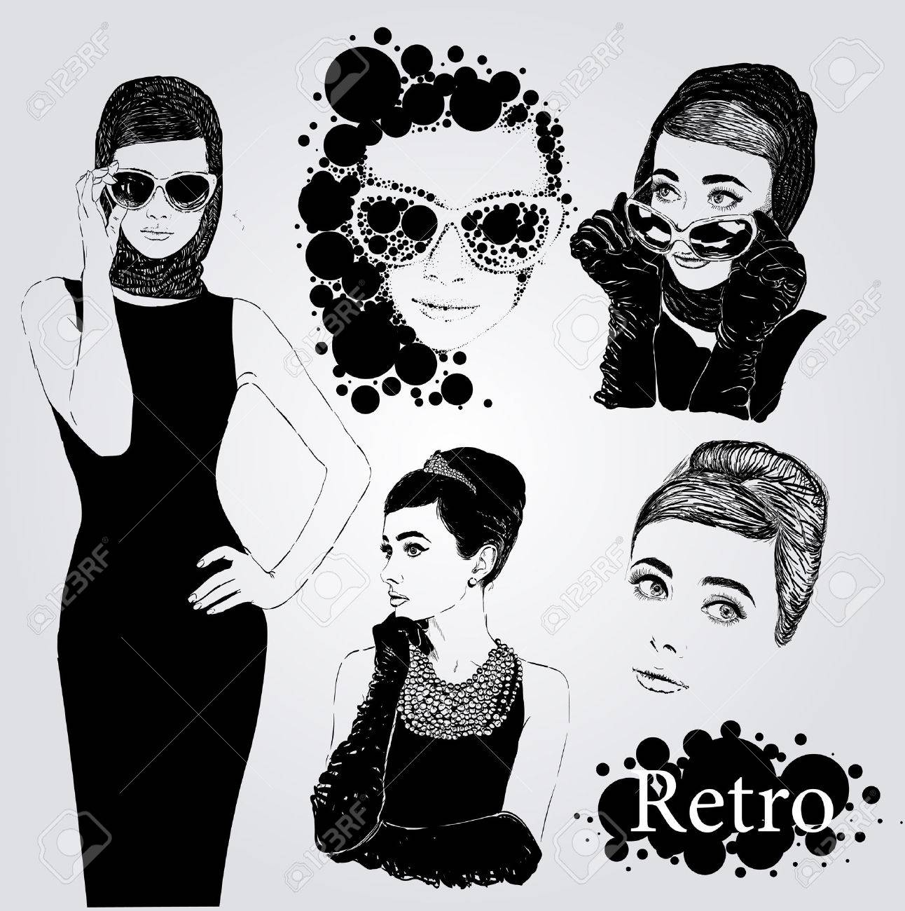 Vector set : fashion ladies look in little black dress in 50s style - 61218649