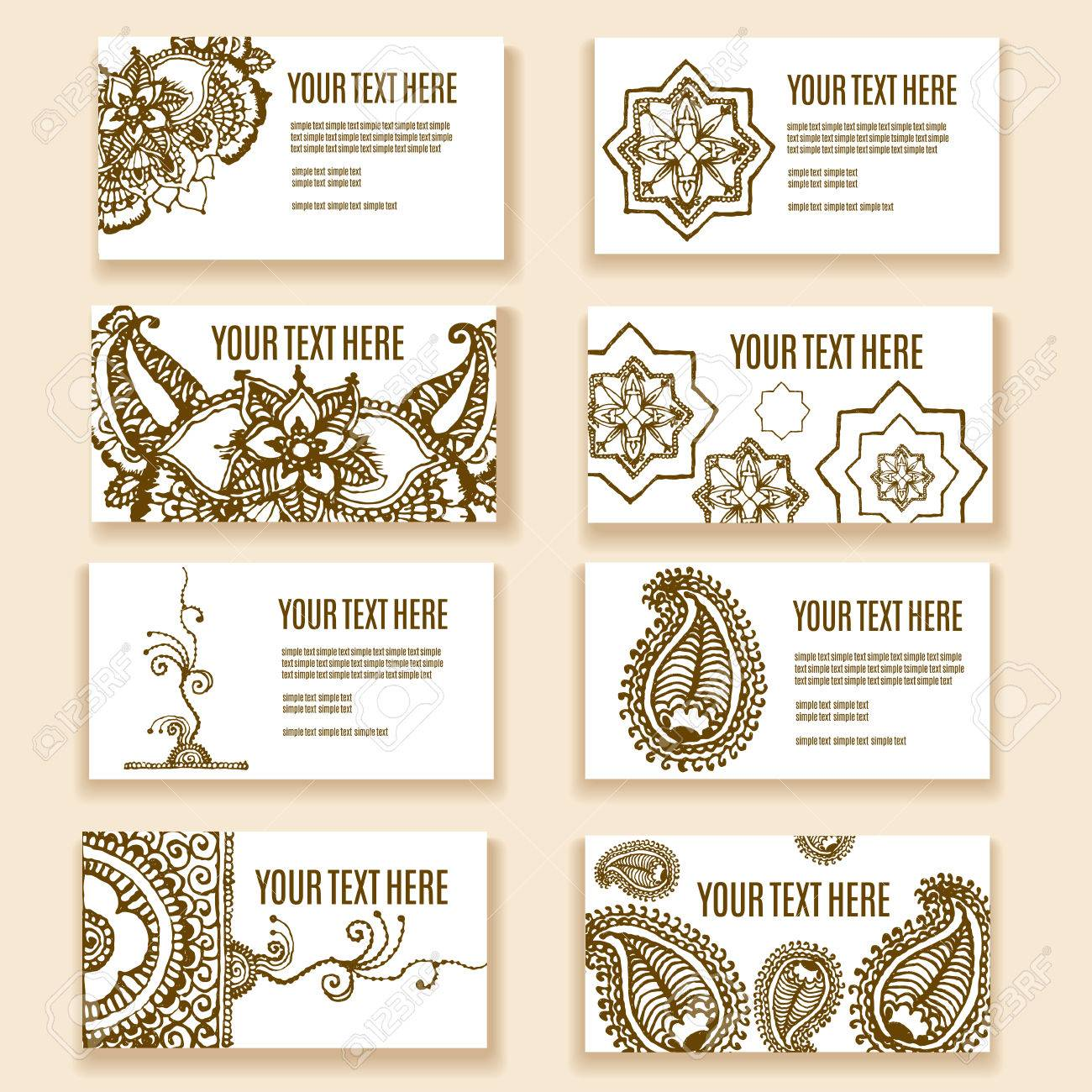 Vintage ornament design business card collection with floral vector vintage ornament design business card collection with floral texture eps 10 vector pattern set in oriental style mehendi henna tattoo colourmoves