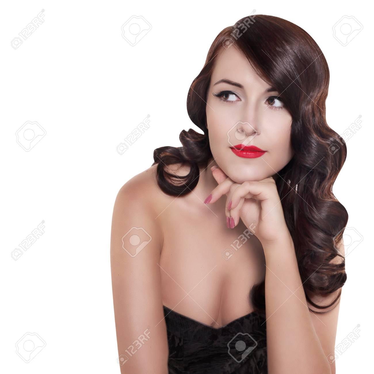 Retro Schwarz Weiß Porträt Der Frau Mit Vintage Frisur Isoliert Auf