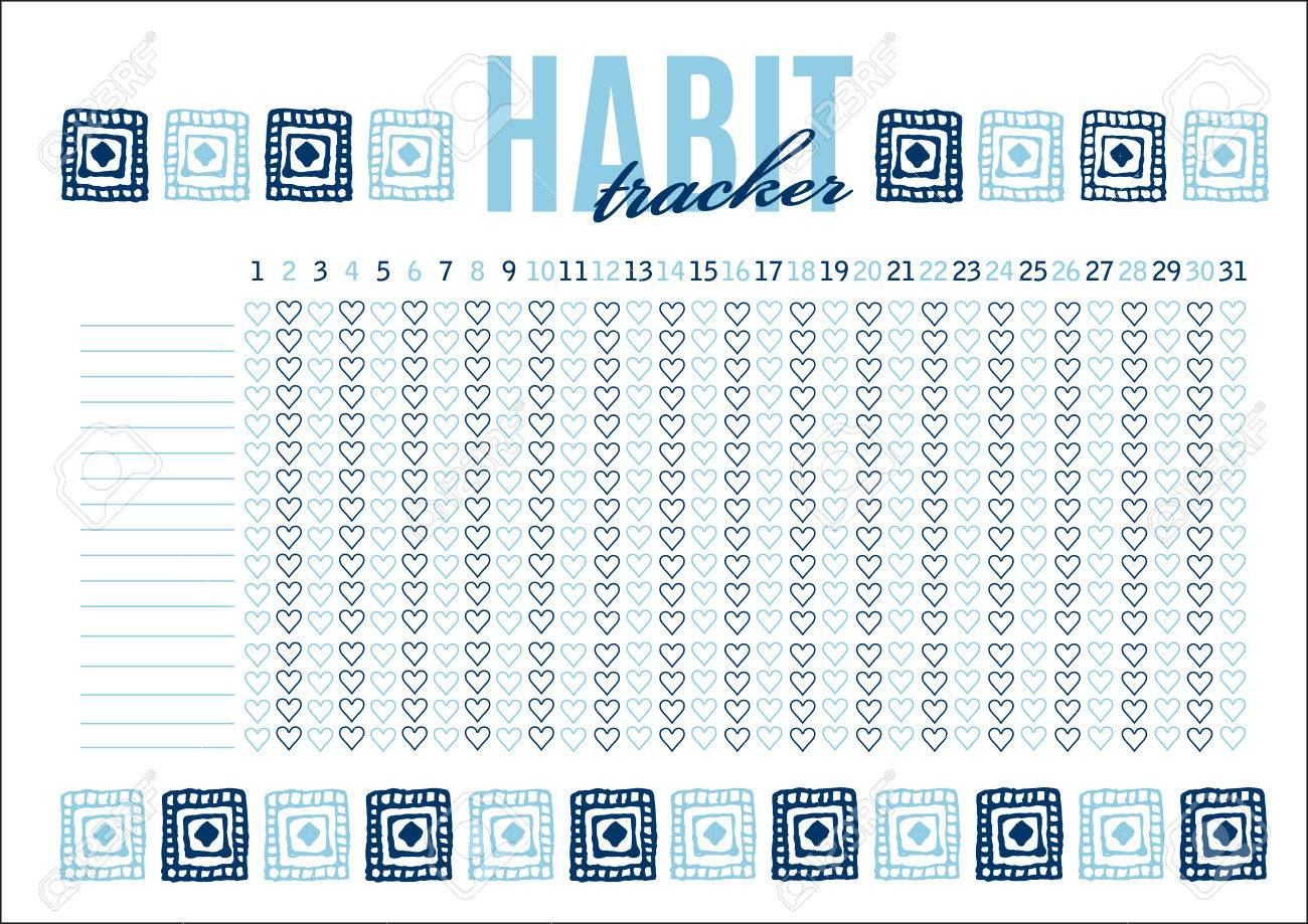 monthly planer habit tracker blank template royalty free cliparts