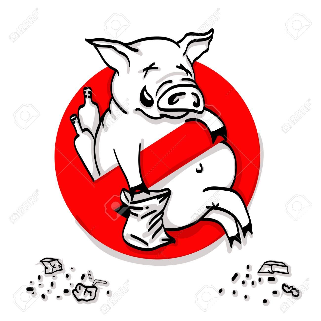 禁止の赤いサークルポイ捨て禁止看板禁じられたシンボルの豚ライン