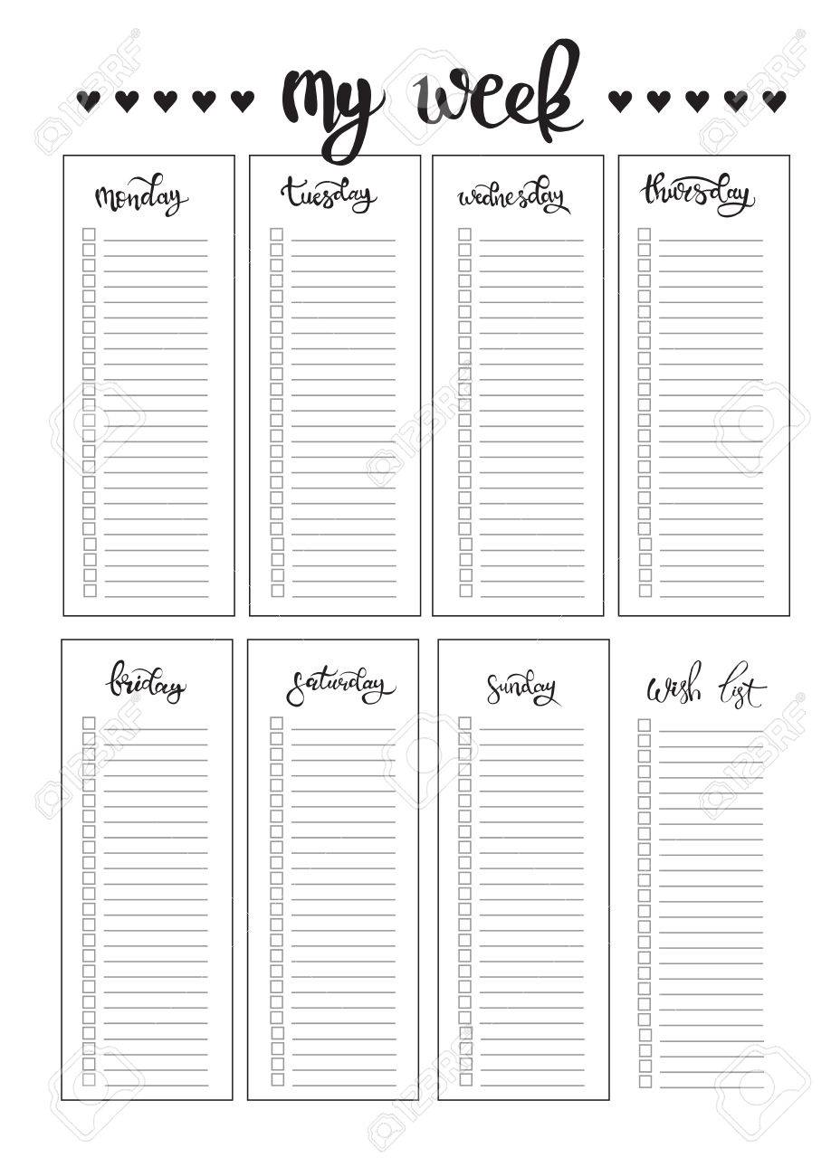 weekly planner blank to do template bullet journal royalty free