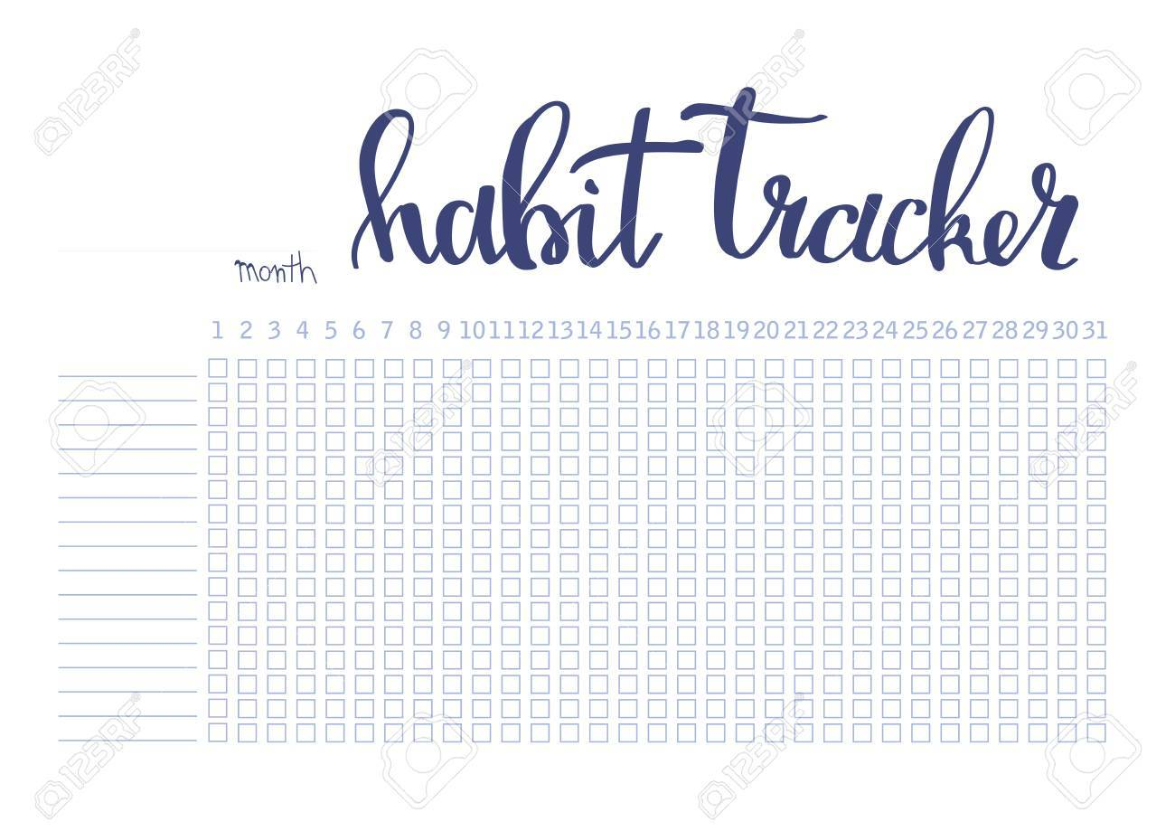image relating to Bullet Journal Habit Tracker Printable called Month-to-month planner routine tracker blank template bullet magazine layout