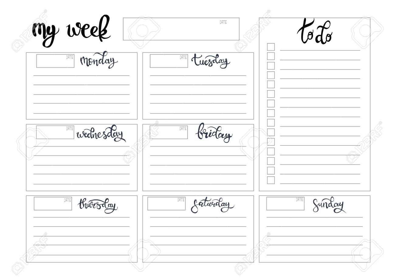 photo regarding Weekly Journal Template named weekly planner blank towards do template bullet magazine