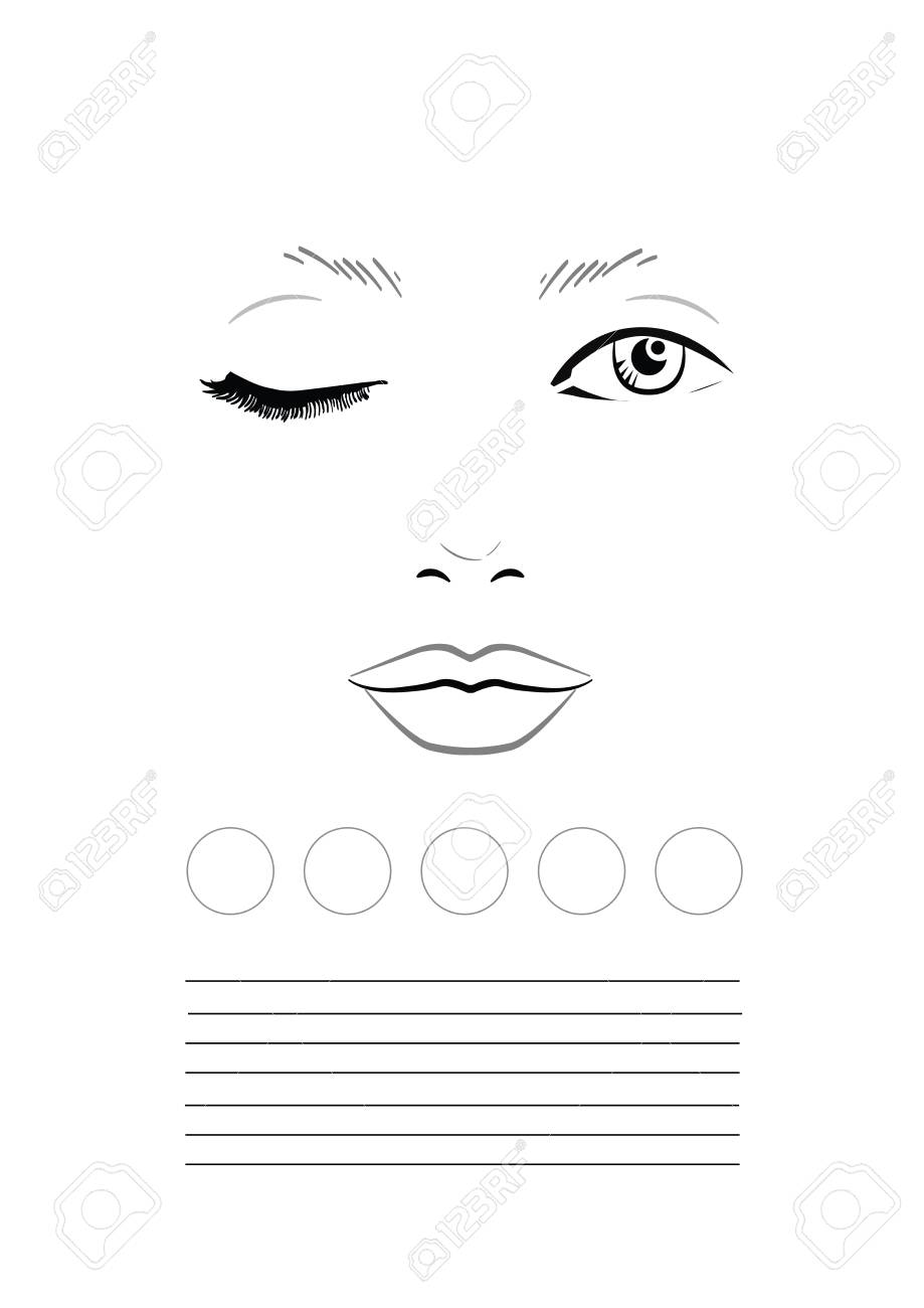 face chart makeup artist blank template illustration stock illustration 89613308