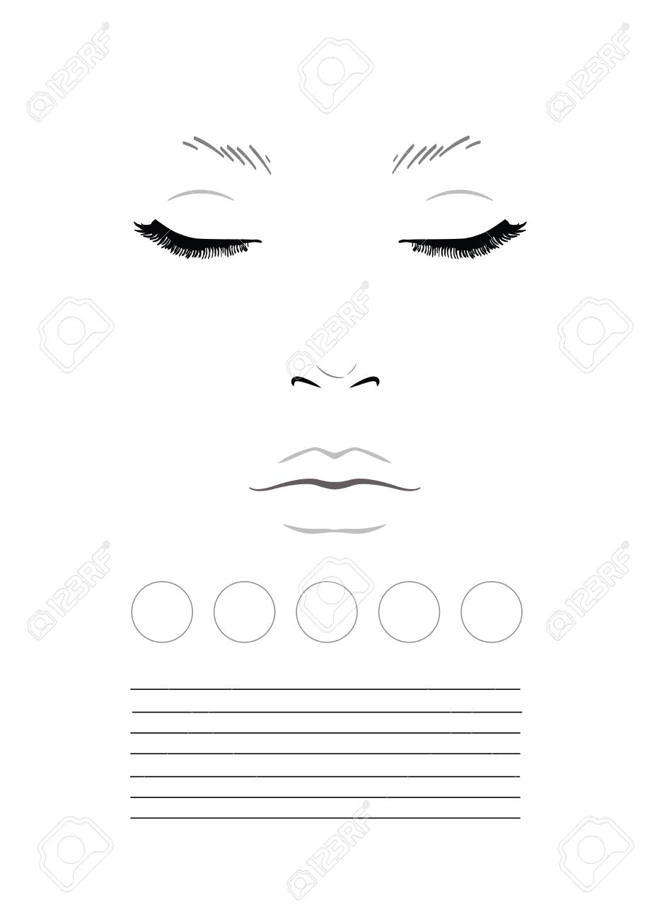 Blank face charts for makeup artists ibovnathandedecker face chart makeup artist blank template illustration stock photo maxwellsz