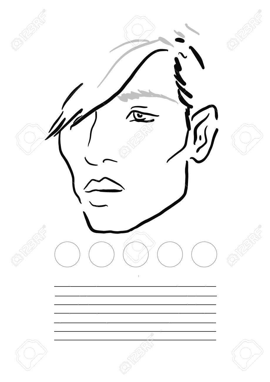 Man Face Chart Makeup Artist Blank Template Vector Illustration