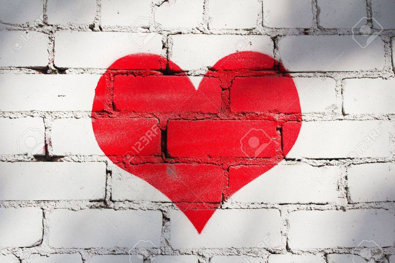 Red Painted Heart on White Brick Wall Stock Photo - 7635986