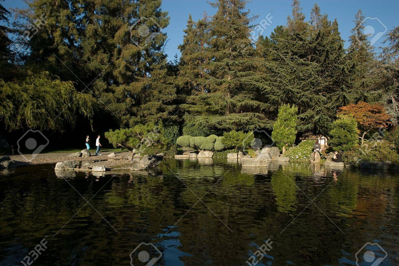 The Japanese Friendship Garden Is A Walled Section Of Kelley.. Stock ...