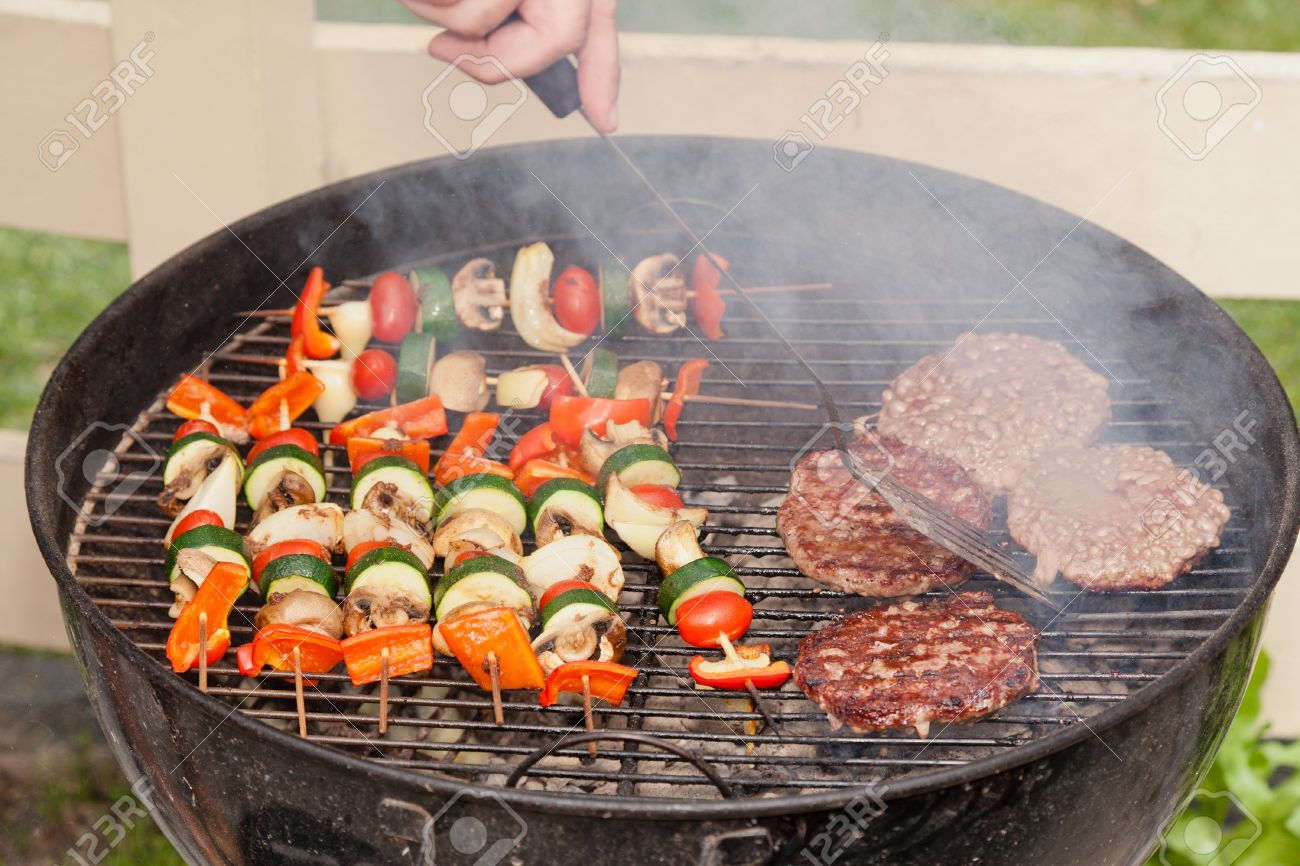 Food Cooking On A Charcoal Grill In A Park Stock Photo Picture And Royalty Free Image Image 10795765