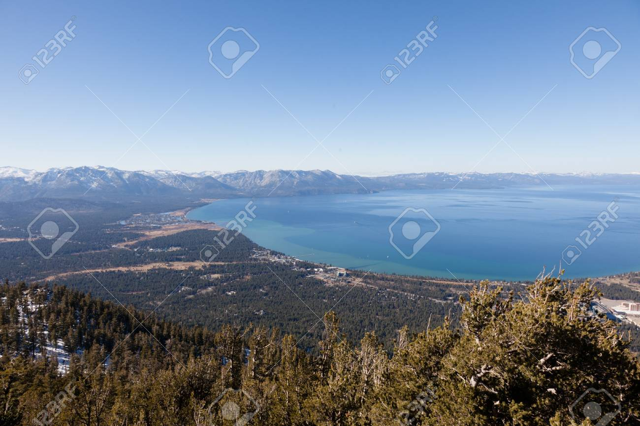 Lake Tahoe is a large freshwater lake in the Sierra Nevada mountains of the United States. Stock Photo - 13323360