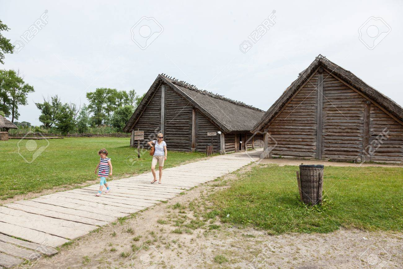 Archaeological open air museum Biskupin is an archaeological site and a life-size model of an Iron Age fortified settlement in north-central (Wielkopolska) Poland (Kuyavian-Pomeranian Voivodeship). Stock Photo - 22054786