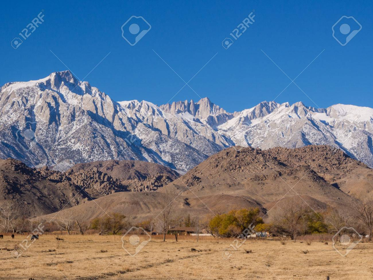 Stock Photo - View of Mt Whitney from US Route 395 in Lone Pine, CA.