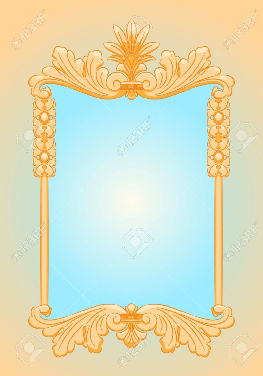 Beautiful Ornate Rectangle Gold Frame Mirror Retro Style Royalty Free Cliparts Vectors And Stock Illustration Image 14582777