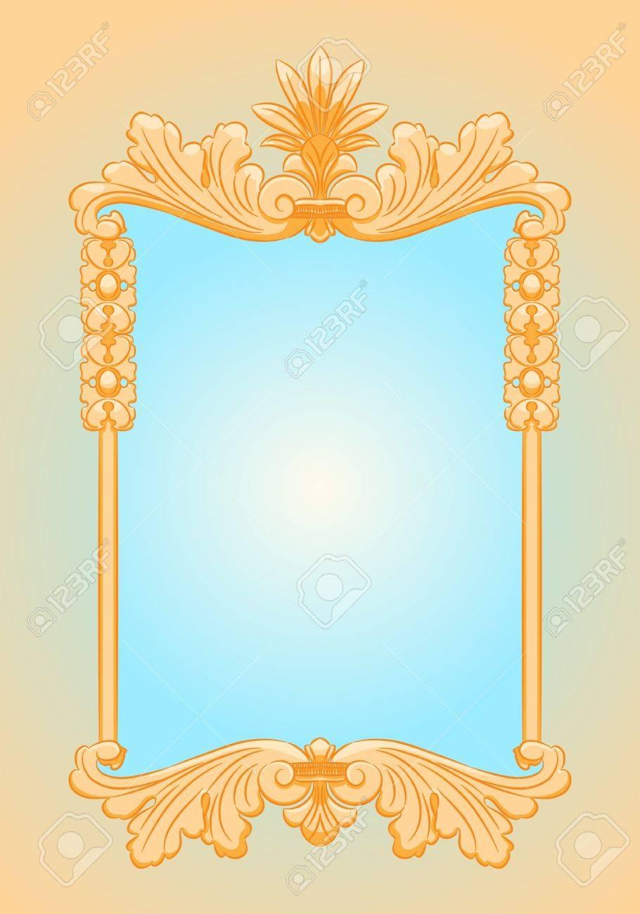 Hermoso Marco Adornado Del Oro Rectángulo Espejo Estilo Retro ...
