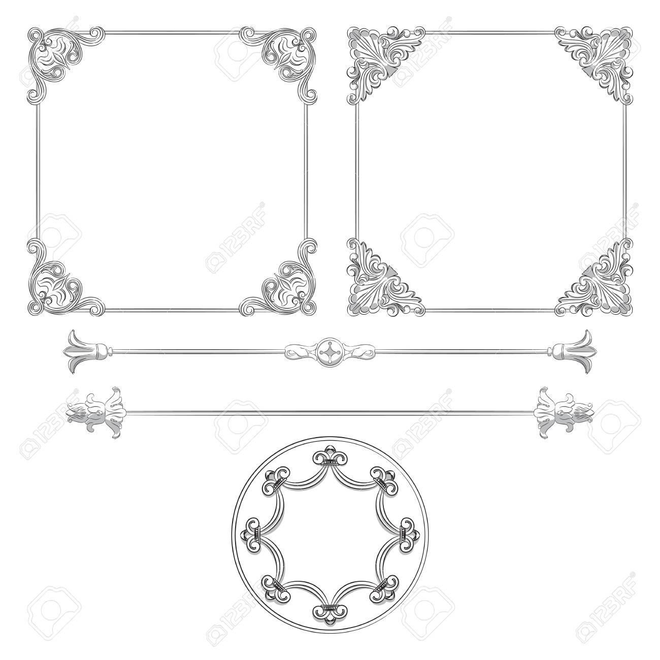 Beautiful vintage frames and other elements Stock Vector - 14873004