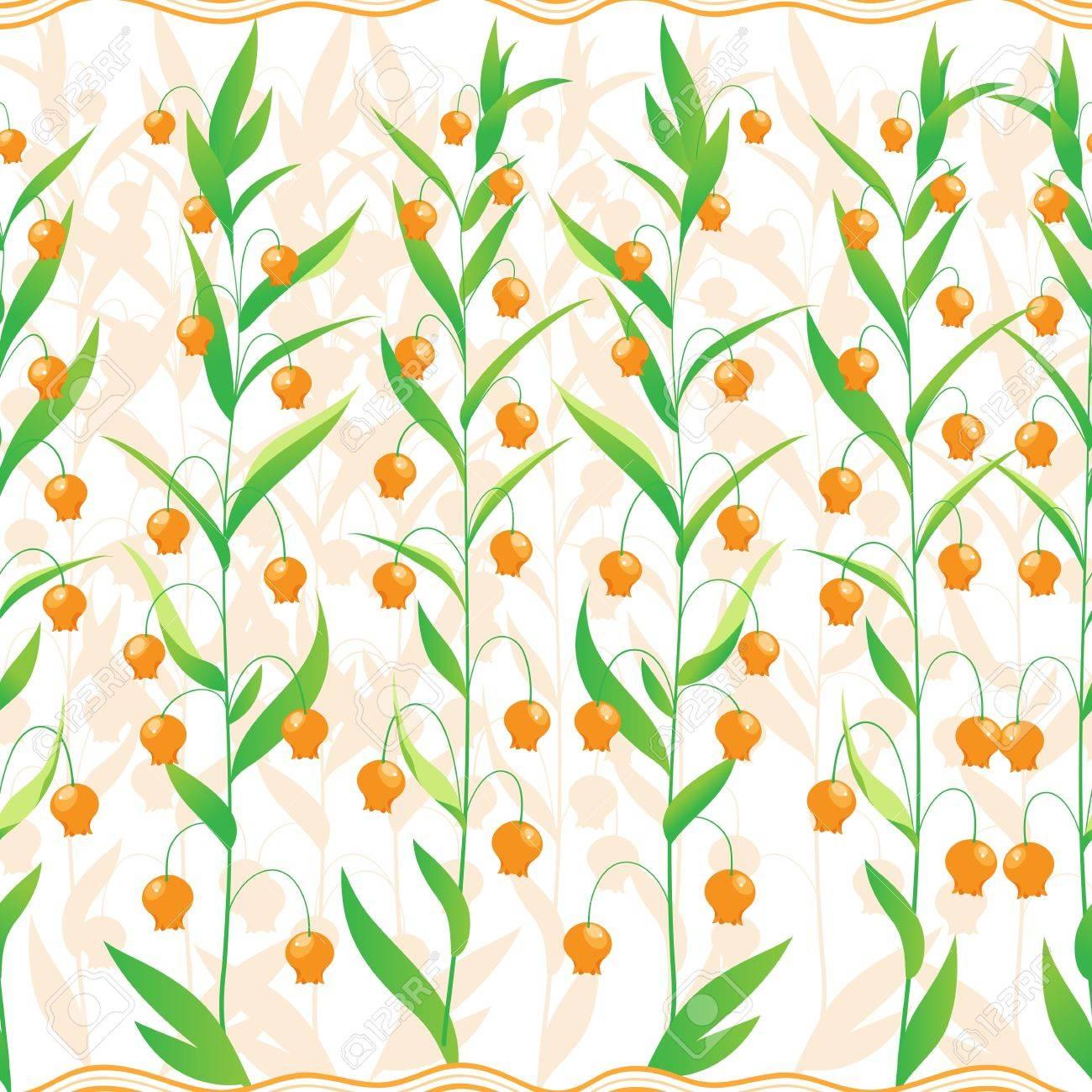 Patrón Transparente De Unas Pequeñas Flores De Color Naranja Y Una ...