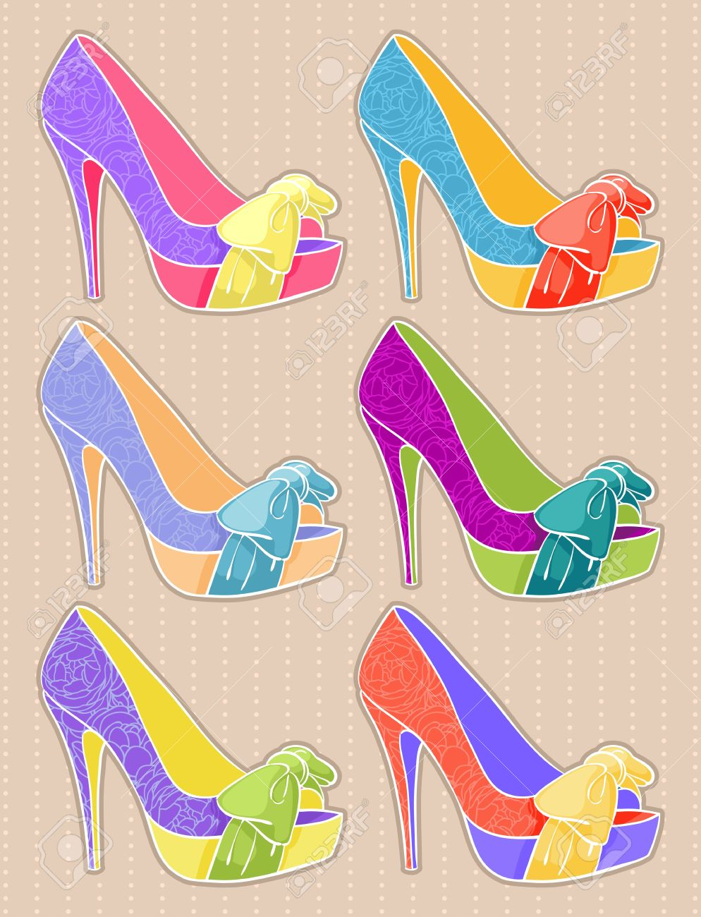 Set of women s shoes with high heels on a beige background Stock Vector - 16765709