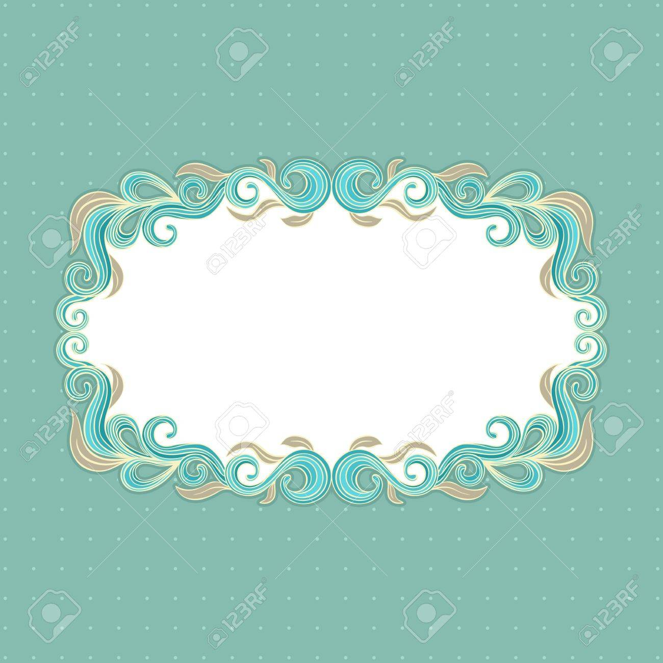 Beautiful floral frame on a turquoise background Stock Vector - 16917606