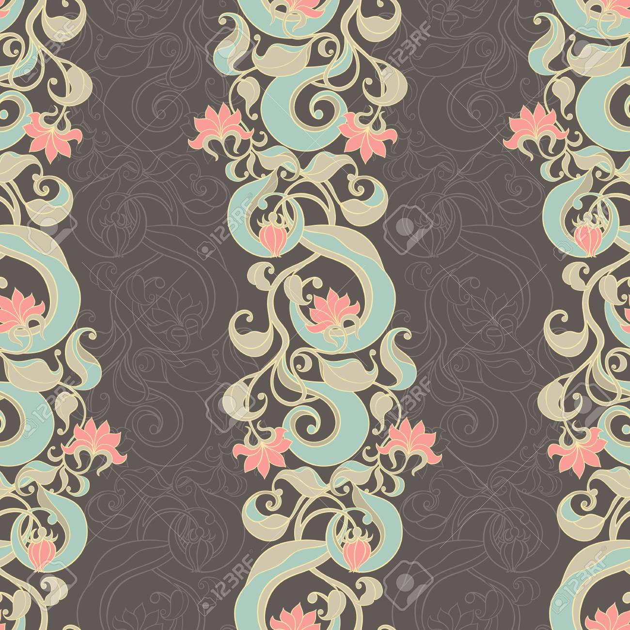 seamless picture with vertical floral pattern on dark background Stock Vector - 17166178