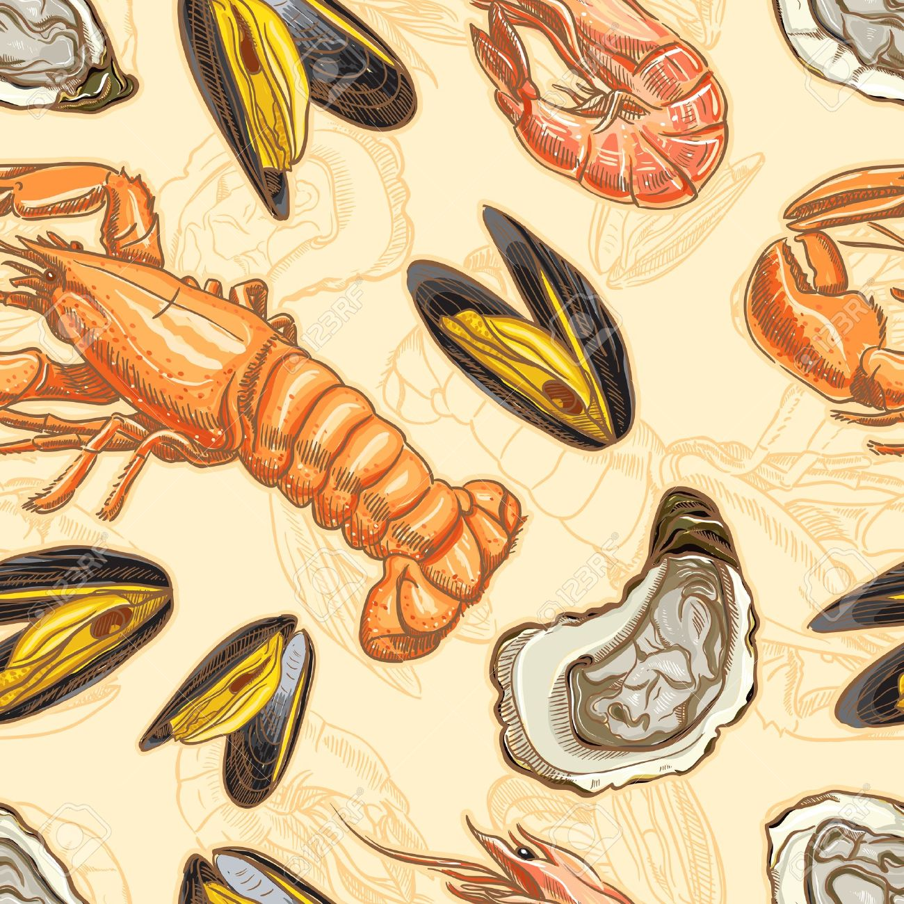 seafood seamless background with lobster, oysters, mussels and shrimp - 18124409