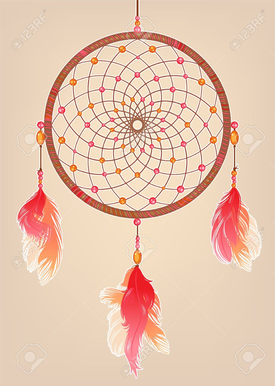 Dream Catchers With Beads Traditional Dream Catcher With Red Orange And Pink Feathers And 11