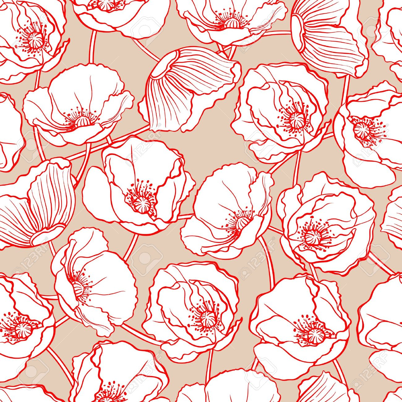 beautiful natural pattern with white poppies on a beige background - 19242491