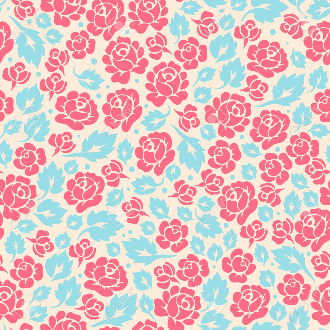 cute retro seamless pattern with rose buds and leaves - 19472826
