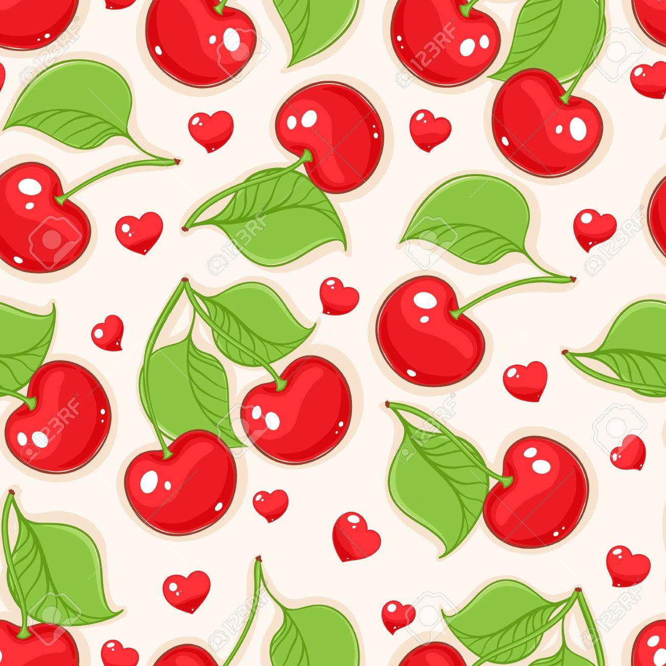 Summer seamless beige background with red cherries and hearts - 19687677