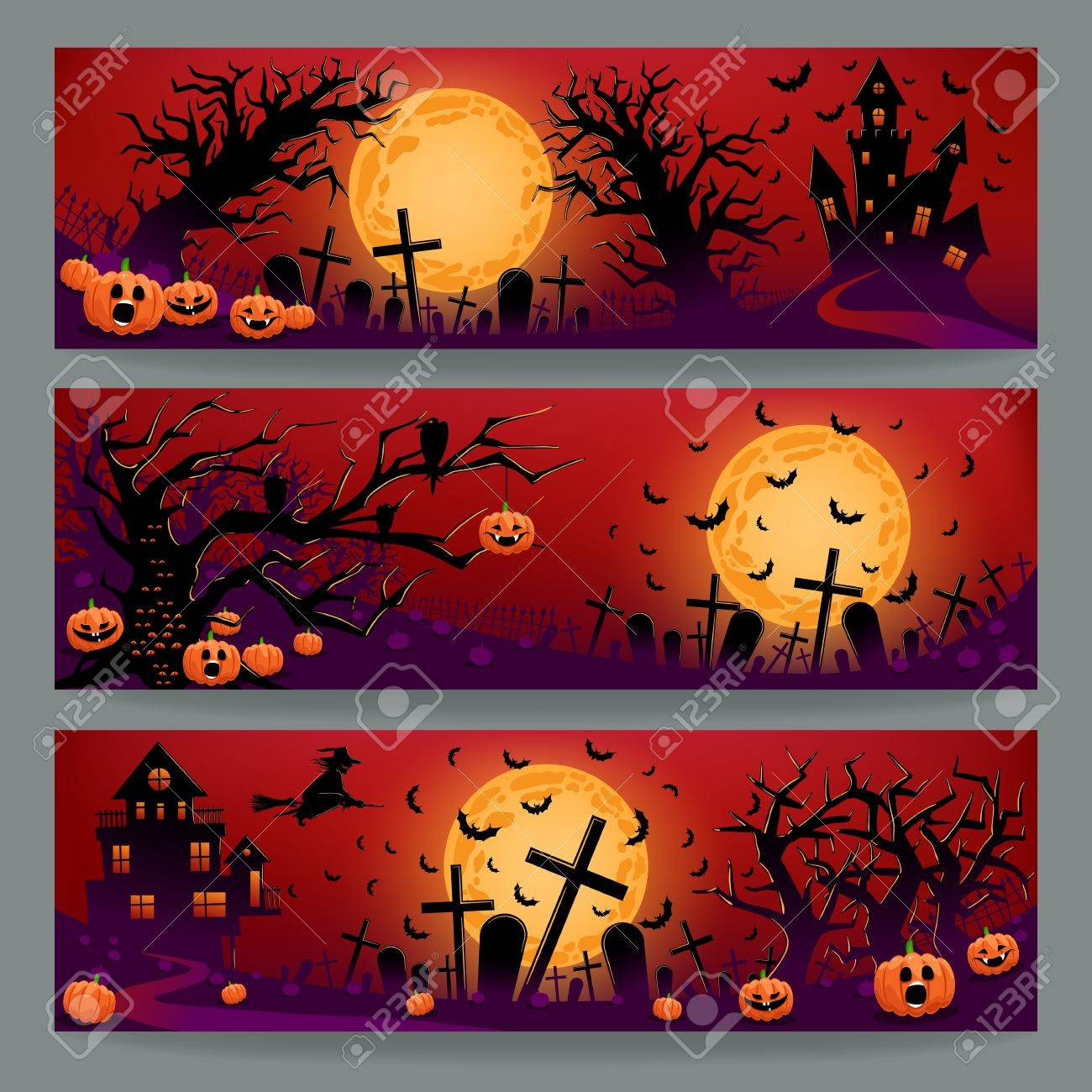 Set of three beautiful banners for Halloween with graves, evil pumpkins and trees - 22174093