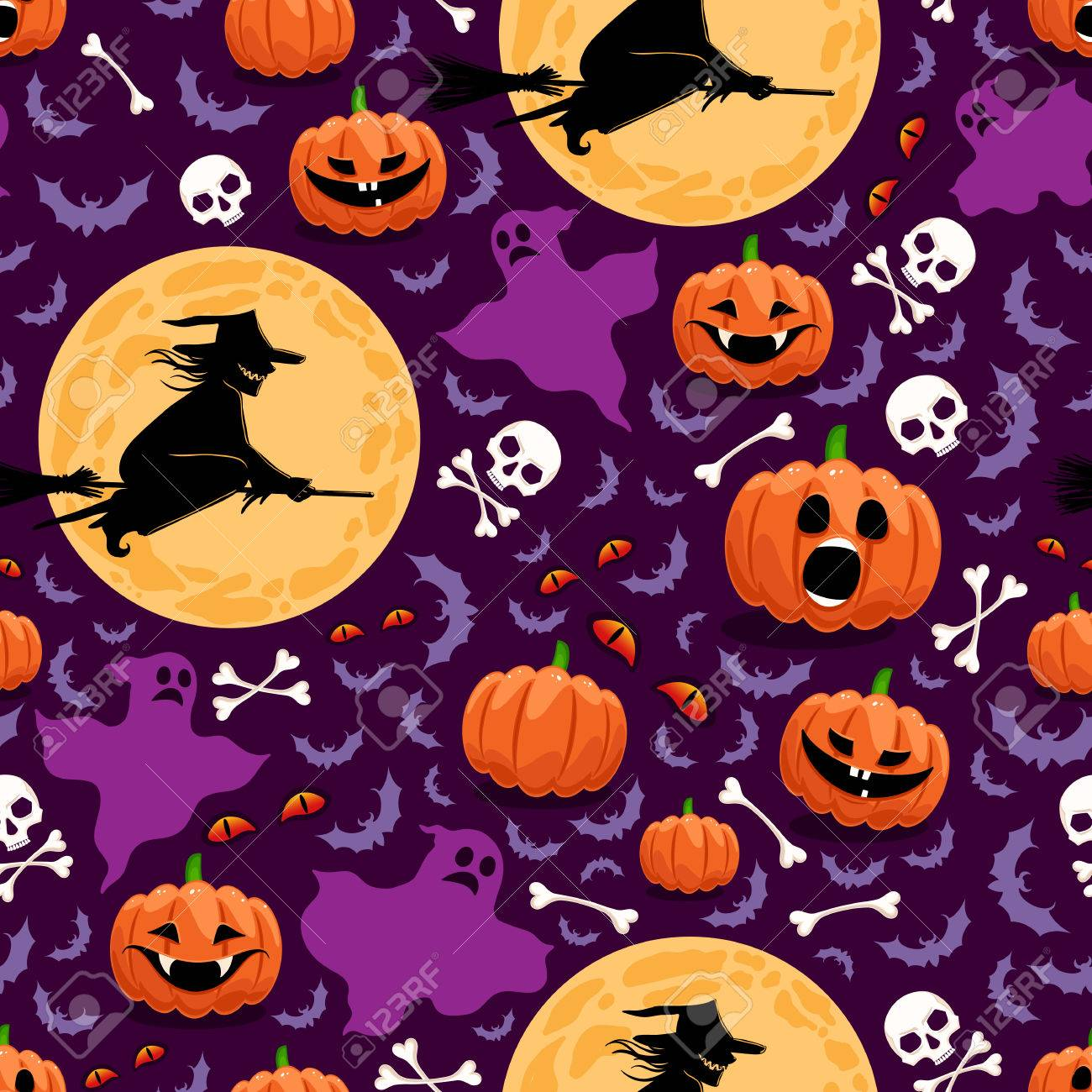 seamless background for Halloween with pumpkins, witches and ghosts - 22502610