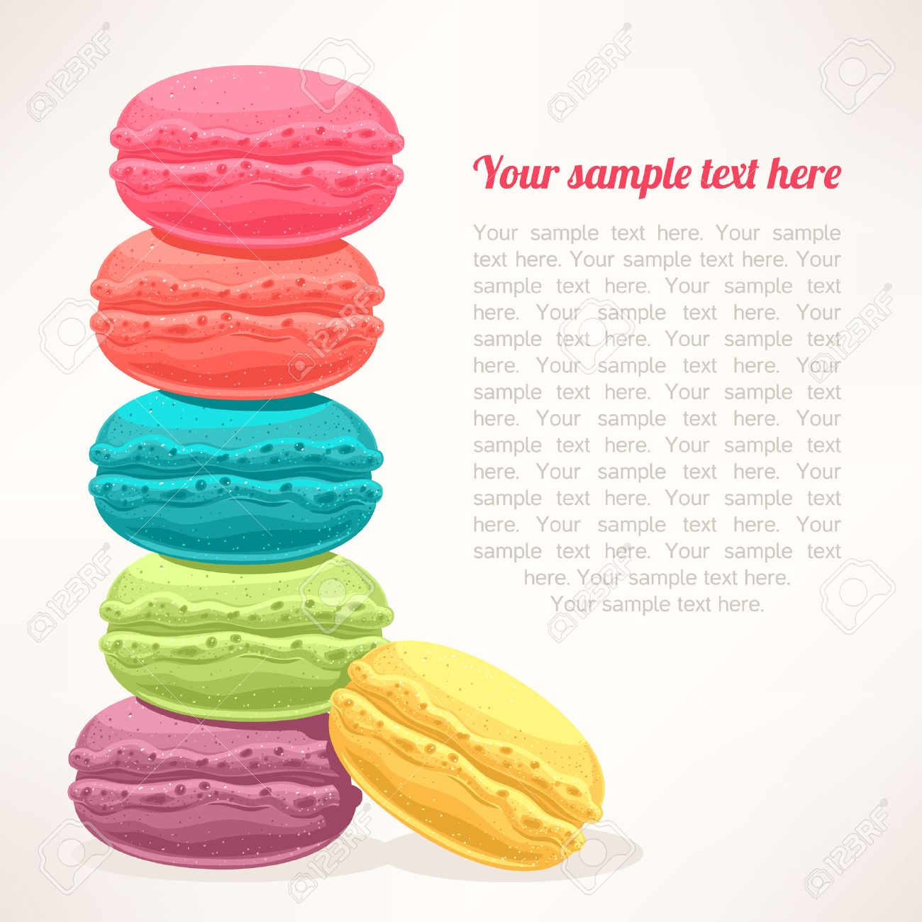 cute background with a pile of colored macarons and place for text - 24598686