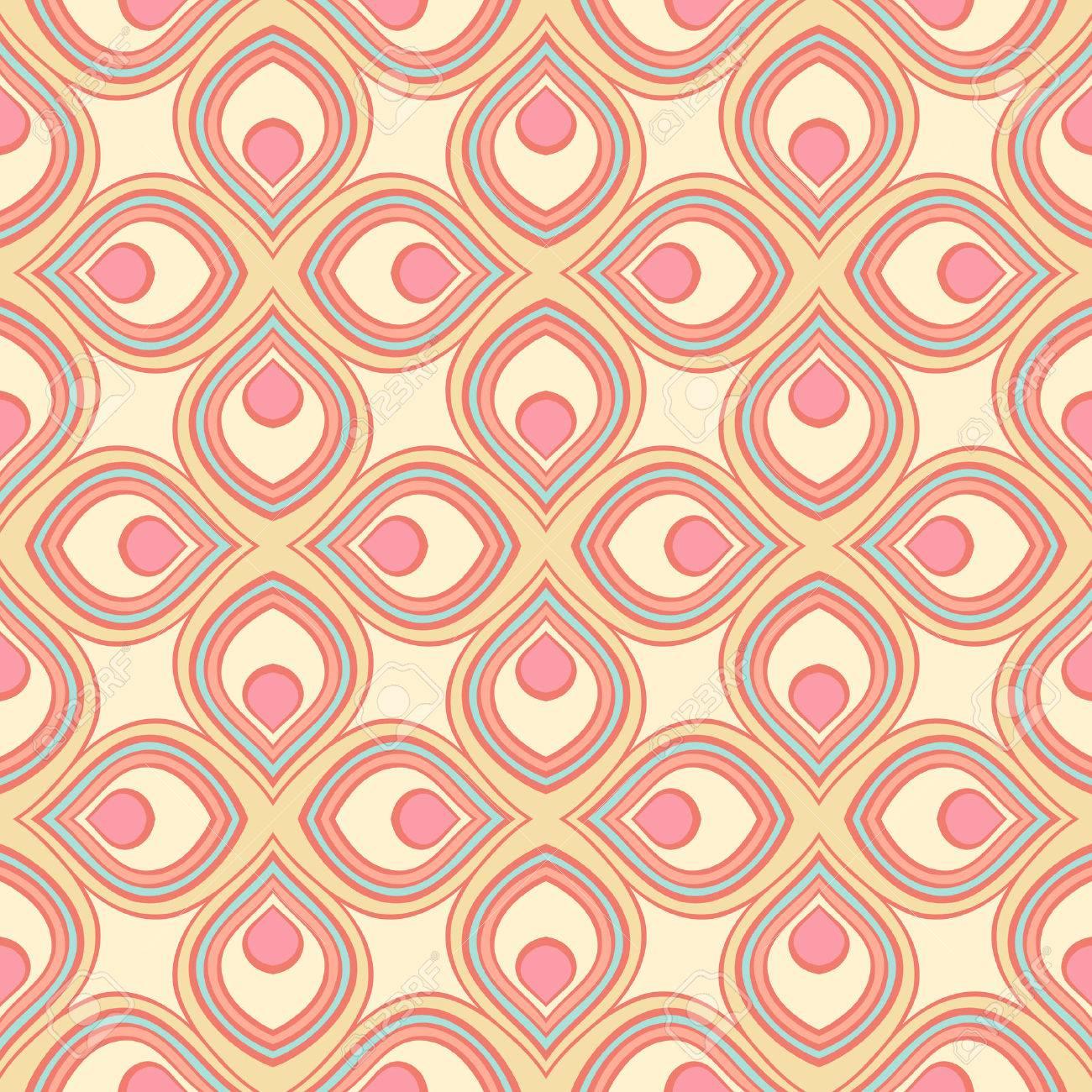 beautiful retro geometric pattern with pink and yellow stylized petals - 25252967