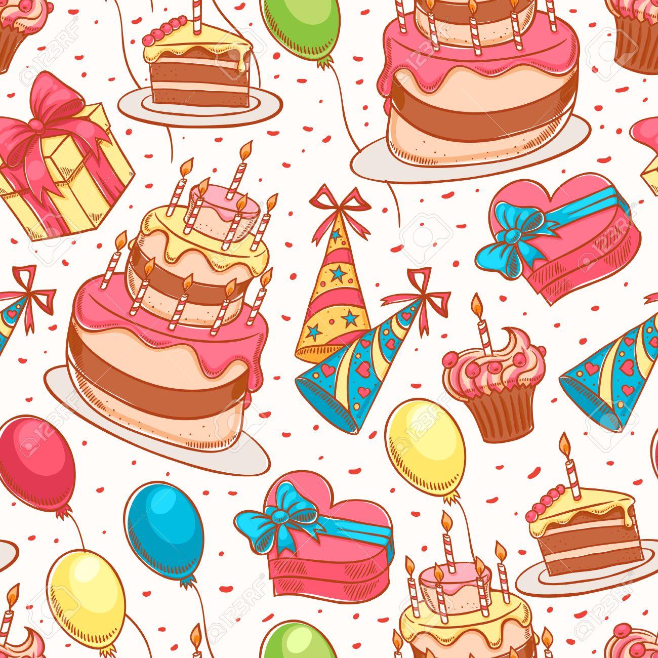 Happy Birthday Cute Seamless Background With A Birthday Cake