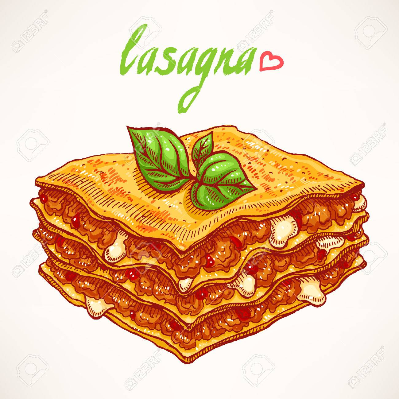 appetizing piece of lasagna with beef and basil leaves - 33070214